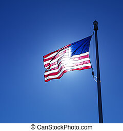 Waving American flag.