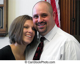 bride and groom at courthouse wedding ceremony
