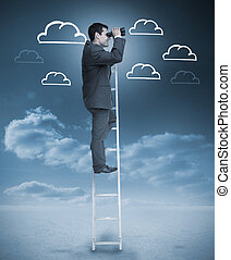 Businessman standing on a ladder over clouds with clouds...