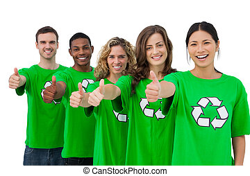 Cheerful group of environmental activists giving thumbs up...