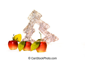 Christmas tree with apples on white background