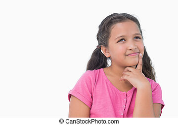 Thoughtful little girl on white background