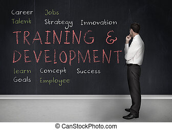Training and development terms written on a blackboard -...
