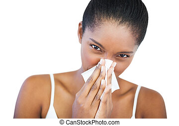 Woman has a cold on white background
