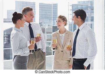 grupo, alegre, empresa / negocio, gente, Tintinear, su,...