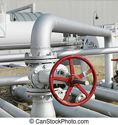 Release valve for fuel. - Valve wheel on fuel tank farm.