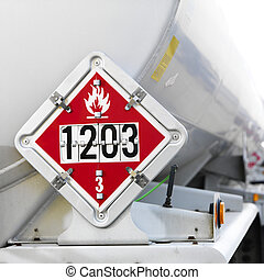Flammable fuel sign. - Fuel truck with flammable sign.