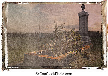 Polaroid transfer of cemetary. - Polaroid transfer of...