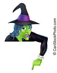 Halloween Witch Pointing Down - Drawing of a friendly...