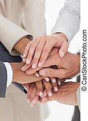 negócio, equipes, mãos, junto