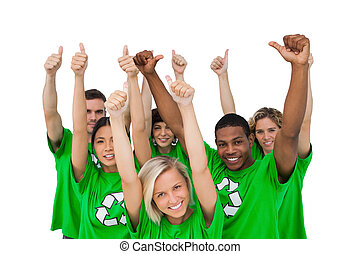Cheerful group of environmental giving thumbs up on white...