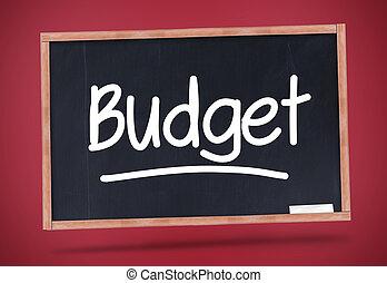 Budget written on a blackboard