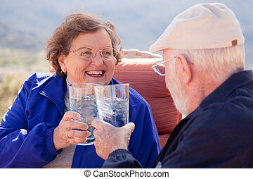 Toasting Senior Adult Couple - Happy Senior Adult Couple...