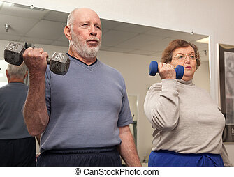 Senior Couple Work Out - Senior Adult Couple Working Out in...