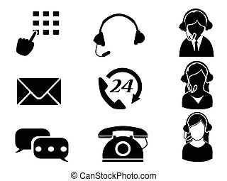 customer service icon set - isolated customer service icon...