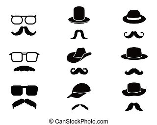 Invisible man with mustache ,glasses and hats - collection...