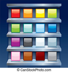 Blank Colorful Apps Icons on Metal Shelfs. Vector - Clean...