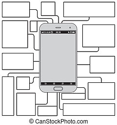 Touchscreen Phone Features. Blank Vector Template