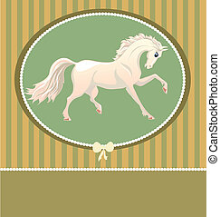 card with white horse - card in pastel colors with white...