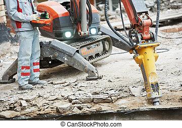 constructor, trabajador, Operar, Demolición, máquina