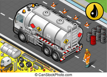 Isometric Liquid Tanker Truck in Rear View - Detailed...