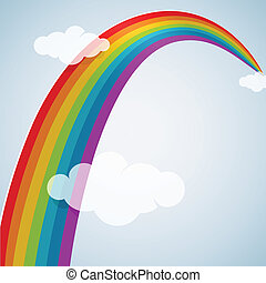 Rainbow arc among clouds cartoon illustration. EPS 10