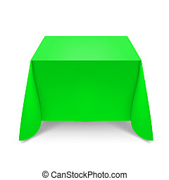 Green tablecloth Illustration on white background for design...