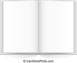 Open book with white pages. Illustration on white