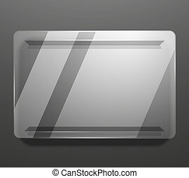Empty glass plate vector background