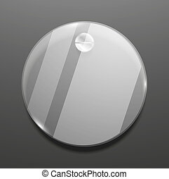 Empty round glass plate vector background