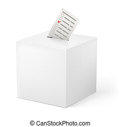 Ballot box with Ballot paper. Illustration on white...