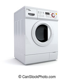 Washing machine on white isolated background 3d