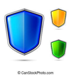 Three abstract shield Illustration for creative design