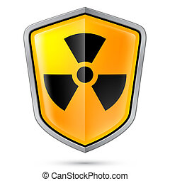 Warning sign on shield, indicating of Radiation....