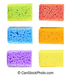 Set of six colorful sponges - Set of six colorful kitchen...