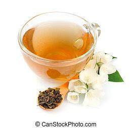 Tea with fresh jasmine flowers
