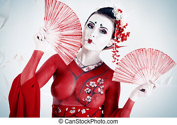 kimono, rojo