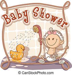 bebé, ducha, caricatura, invitación