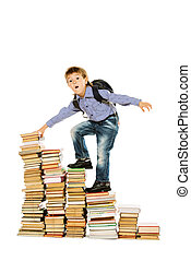 upstairs - A boy climbing the stairs of books. Education....