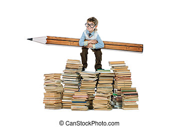 hard to study - A boy standing on a pile of books and...