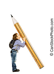 first grade - A boy standing with a huge pencil. Education....