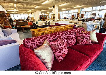 Furniture antique shop - A shop with colorful antique...