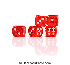 Red playing dices isolated