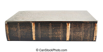 Old wooden cover book isolated over white background