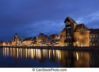 Gdansk at night, Poland - The medieval port crane in Gdansk...