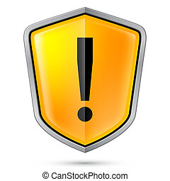 Warning sign icon on shield Illustration on white