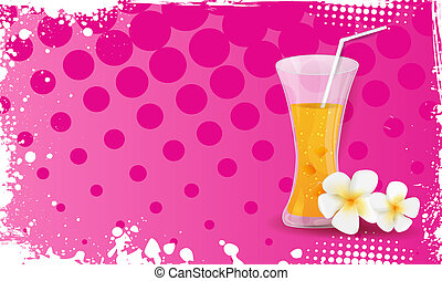 Grunge banner with glass of orange juice and plumeria flowers