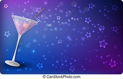 Martini on night background with stars - Slanted glass of...