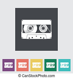 Audiocassette flat single icon. Vector illustration.