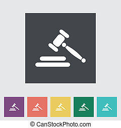 Auction flat icon - Auction gavel flat icon Vector...